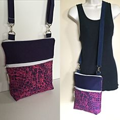 New to Sewdivine77 on Etsy: SaleBlue and Pink Geometric adjustable Crossbody/sling/hobo/shoulder bag (24.99 USD)