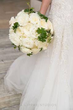 A white rose bridal bouquet | @iralippke | Brides.com