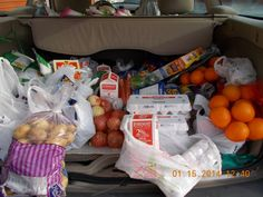 Food Bank On Wheels Hampers ready for delivery