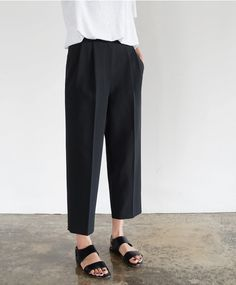 Chic Style - white blouse, black cropped trousers & sandals