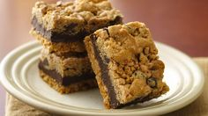 Fudgy Chocolate Chip-Toffee Bars. Get a great toffee crunch in rich cookie bars that get a head start from refrigerated cookie dough.
