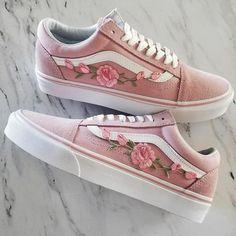 Pink/Pink RoseBuds Custom Vans Old-Skool Sneakers Custom shoes take approximately weeks to make. Vans Sneakers, Vans Authentiques, Tenis Vans, Pink Vans, Vans Shoes, Sneakers Fashion, Fashion Shoes, Golf Shoes, Shoes Sport