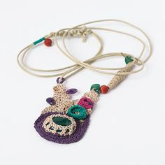 Free Form Crocheted Necklace in Purple and Cream with Green Agate,Amethyst and Spong Coral
