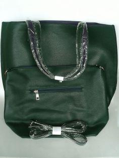 Bolsa dupla face italiana em verde e roxo.