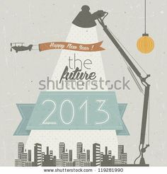 stock vector : Vintage New Year's Eve Card. Retro cartoon style New Year greetings illustration.