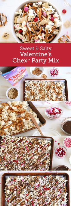 This sweet and salty snack mix made with Vanilla Chex, M&Ms, popcorn, peanuts and pretzels is over-the-top addictive! The recipe can be easily doubled for parties and works perfectly as a lunchbox snack for Valentine's Day.