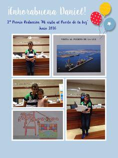 """Daniel, alumno de 5ºA, recoge el 2º Premio de redacción """"Mi visita al puerto"""" organizado por la Autoridad Portuaria de Las Palmas"""