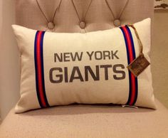 New York Giants Football Pillow 12 X 18 by twotexascowgirls, $19.50
