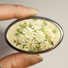 Vintage 1950s Hand Embroidered Brooch Floral Daisy Embroidery Silk Oval Flowers in Silver Setting