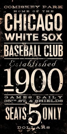 Chicago White Sox baseball club typography graphic art on canvas 10 x 20 by stephen fowler Chicago Illinois, Chicago Bears, White Sox Baseball, Baseball Socks, Typographie Inspiration, My Kind Of Town, Sports Stars, Chicago White Sox, Sweet Home