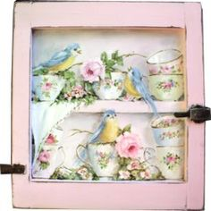 Original Painting on an Old Cupboard door - Birds & Tea Cups - Postage is included Australia wide