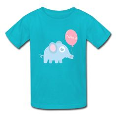 Cute baby elephant with balloon when your boy turns 2! Text can be personalized to different ages!