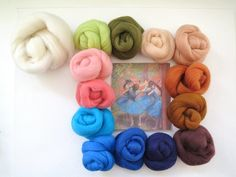 \A collection of beautiful colors inspired by Edgar Degas' 'Blue Dancers' painting.   Blue Dancers Merino Wool Roving Color Palette by FeltEvolution, $14.50