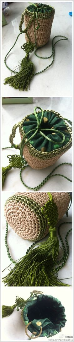 crochet bag with cloth top