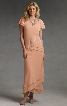 Mother of the Bride/Groom dress,,Short Sleeve Tea Length Capri by Mon Cheri Evening Dress CP11011 at frenchnovelty.com