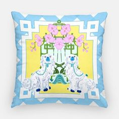 Decorate your space with this cheerful pillow, blue and white with a pop of yellow- staffordshire dogs, orchids in clam shell, bamboo pagoda mirror Outdoor Pillow Covers, Decorative Pillow Covers, Staffordshire Dog, Couch Design, Outdoor Fabric, Indoor Outdoor, Realtor Gifts, Chinoiserie Chic, Blue Pillows