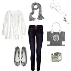 Silver and White, created by #lizacatacutan on #polyvore. #fashion #style CALYPSO ST. BARTH Hudson Jeans