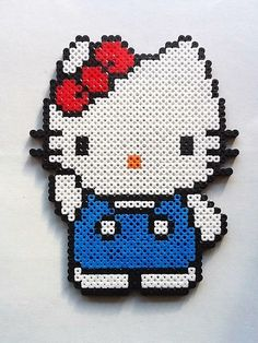Large Hello Kitty w Overalls Perler Bead Sprite by nintendo-universe