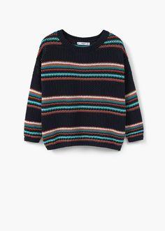 Gestreifter baumwollpullover - Cardigans und pullover für Damen | MANGO