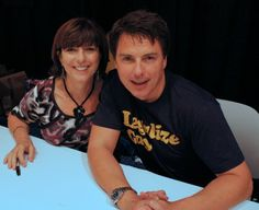 Bulletin: John Barrowman asked a fan to cut an annoying tag off his underpants at Dragon Con. PS: That's his sister Carole, who heckled him mercilessly. Captain Jack Harkness, John Barrowman, Torchwood, Celebs, Celebrities, Doctor Who, Bbc, Underwear, Superhero