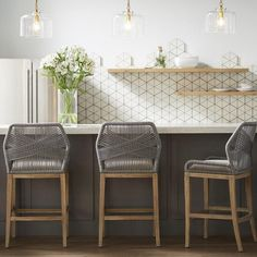 Candelabra Home Loom Bar and Counter Stool - Platinum – Meadow Blu Woven Bar Stools, Counter Stools With Backs, Wicker Bar Stools, Grey Bar Stools, Stools For Kitchen Island, Counter Height Bar Stools, Kitchen With Bar Counter, White Kitchen Stools, Kitchen Counter Chairs