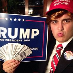 """My homemade Donald Trump Halloween costume! """"Make America Great Again"""" hat Realistic Play Money Fake Gold R Homemade Halloween Costumes, Halloween 2017, Cool Costumes, Halloween Diy, Halloween Trophies, Donald Trump Halloween Costume, Donald Trump Costume, Great America, Holiday Crafts"""