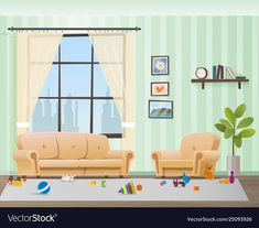 Children scattered toys in messy empty living room Living room vector Living room clipart Room