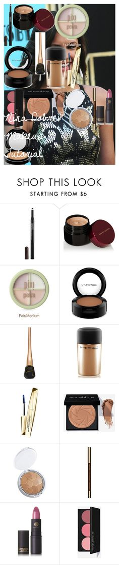 Nina Dobrev Makeup Tutorial by oroartyellie on Polyvore featuring beauty, Kevyn Aucoin, Clarins, MAC Cosmetics, Lipstick Queen, Maybelline and Gatsby