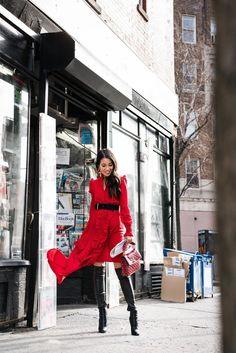 Lost in NYC :: Red dress & Vintage Chanel earrings - Wendy's LookbookWendy's Lookbook