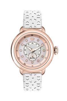 GR77008: Rose Gold IP Stainless Steel Case Cover and Genuine Saffiano Leather White Perforated Flower Strap