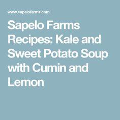 Kale, leeks, sweet potatoes: Sapelo Farms Recipes: Kale and Sweet Potato Soup with Cumin and Lemon