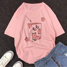 Cartoon Peach Juice Japanses Aesthetic Grunge T shirt Harajuku Fashion, Kawaii Fashion, Fashion Outfits, Pastel Fashion, Aesthetic T Shirts, Aesthetic Clothes, Aesthetic Grunge, Aesthetic Women, Peach Clothes