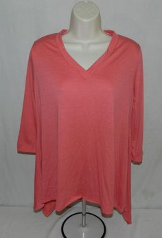 NWOT Takuni USA Womens Loose Fit Long Tunic Top Blouse Melon Size M #Takuni #Tunic #Casual