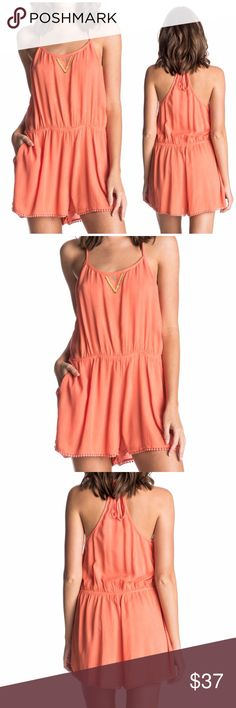 NWT Roxy Woven Romper Romper in light coral  Woven fabric Pockets on the side seam Adjustable back tie Lace trim along the hem Beaded detail on the front neckline. 100% Viscose Roxy Pants Jumpsuits & Rompers