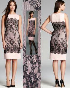 Tadashi Shoji Neoprene Metallic Lace Overlay Pale Pink Black Dress