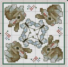 Cross-stitch Bunny Block ... no color chart available, just use the pattern chart as your color guide..   BISCORNU, ALFILETEROS, GUARDATIJERAS, ....A PUNO DE CRUZ | Aprender manualidades es facilisimo.com