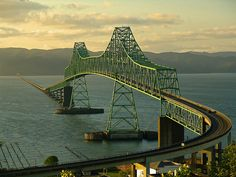 The Astoria-Megler Bridge spans about 4 miles across the mouth of the Columbia River, connecting Oregon and Washington States.