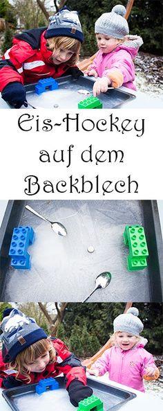 Spielen im Winter mit Kindern draußen - DIY Spiele mit Eis - Eis Hockey Spiel selber machen
