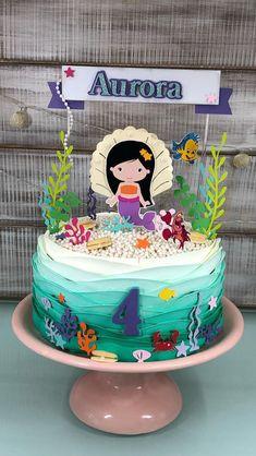 Sirenita Mermaid Birthday Cakes, Little Mermaid Birthday, Little Mermaid Parties, Mermaid Cakes, Pastel Mickey, Bolo Fack, Superhero Party Decorations, Cute Birthday Ideas, Royal Icing Cakes