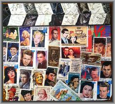 Hollywood Movie Clapboard  (Front) with Postage Stamp Decoupage of Movie Stars -- Stampcoupage