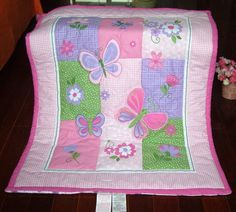 kindergarten baby quilt Pure cotton embroidered baby girl's quilt pink butterfly, freeshipping