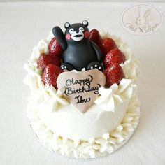 We thought this Kumamon Birthday Cake would be appropriate for Mother's Day! Wishing all moms a great day you are all heroines! Custom Kuma Strawberry Cake. by petitlapinid