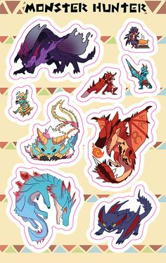 A sticker set for any valiant Monster hunter! The set comes with sticker sheet {9 stickers!}: Rathalos Zinogre Lagiacrus Nargacuga Gore Magala Rathalos hunter Zinogre hunter Nargacuga hunter Lagiacrus hunter This glossy Sticker sheet is a 6 x 8 professionally printed laser cut sticker Monster Hunter Series, Monster Hunter Art, Monster Hunter World Wallpaper, Dragon Mythology, Shadow Wolf, Dark Souls Art, Witcher 3 Wild Hunt, Anime Gifts, Soul Art