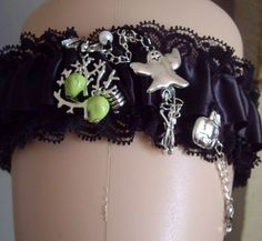 Gothic Garter Halloween Nights Wedding Garter Black carter with ghost, skulls, bat, pumpkin and hanging skeleton detail on front/side come with draped chain Size approx Garter: cm x 34 cm cm when stretched) Bat Skeleton, Gothic Themes, Lace Ribbon, Gothic Wedding, Gothic Steampunk, Wedding Night, Halloween Night, Handmade Wedding, Skull