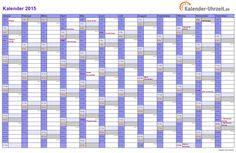 Kalender 2015 in VIOLETT - A4, Querformat, EINSEITIG #KalUhr