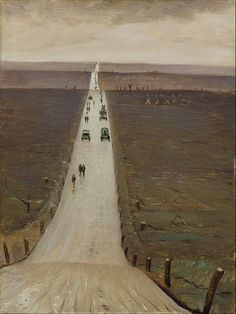 'The Road from Arras to Bapaume' -Christopher Richard Wynne Nevinson, 1917 World War One, First World, Your Paintings, Landscape Paintings, Landscape Art, Ww1 Art, Google Art Project, Flanders Field, Art Uk