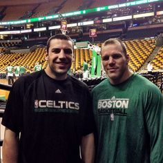 4/28/13 Milan Lucic & Shawn Thornton stopped by the TD Garden to show support to the Celtics & watch them shoot around.