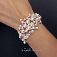 Bridal Bracelet, Wedding Cuff Bracelet, White Swarovski Pearl Rhienstone Wire Wrapped Vine Silver Wedding Jewelry for Brides and Bridesmaids via Etsy