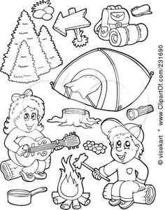 summer camping coloring page for kids rugged life
