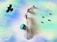 SALE-Belly Ring, Dangling Genuine Aqua Blue Natural Turquoise with Feather, Belly Button Jewelry, For Her via Etsy